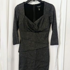 Sz 4 White House Black Market gray pencil dress